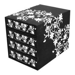 Irattartó box karton 4 fiókos zárt barokk virágok fekete