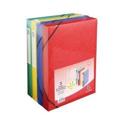 Füzetbox karton Exacompta prespán A/4 40 mm gerinccel 3+1 vegyes színek
