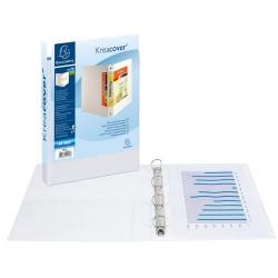 Gyűrűs könyv Exacompta Kreacover A/4 4 gyűrűs 64 mm gerinccel panorámás PVC fehér (40 mm)