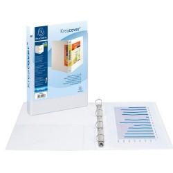 Gyűrűs könyv Exacompta Kreacover A/4 4 gyűrűs 75 mm gerinccel panorámás PVC fehér (50 mm)