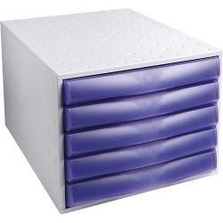 Irattartó box műanyag Exacompta/Multiform 5 fiókos zárt viola