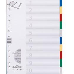 Elválasztólap PP Durable A/4 10 részes színes
