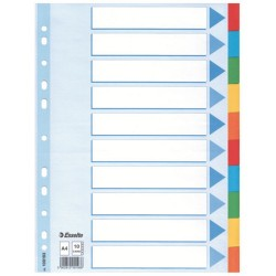 Elválasztólap karton Esselte A/4 10 részes színes 100193