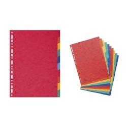 Elválasztólap karton Exacompta A/4 10 részes színes 225 g