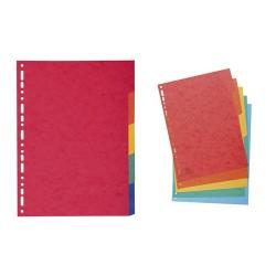 Elválasztólap karton Exacompta A/4 5 részes színes 225 g
