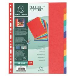 Elválasztólap karton Exacompta A/4 maxi 12 részes színes