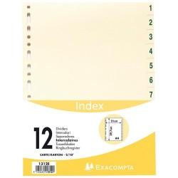 Regiszter karton Exacompta A/4 1-12-ig bézs