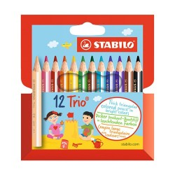Színes ceruza Stabilo Trio 205 háromszögletű vastag rövid 12 db-os klt.