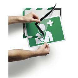 Információs tábla Durable Duraframe Security A/4 öntapadó hátlappal és mágneses kerettel zöld-fehér