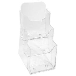 Prospektustartó Exacompta/Multiform 11.2x11.5x21.8 cm asztali 3 rekeszes áttetsző