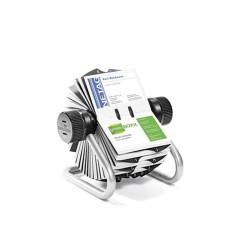 Névjegykártyatartó Durable Visifix Rotary forgatható asztali 400 db-os regiszterrel ezüst