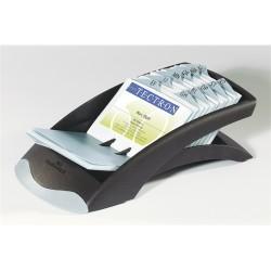 Névjegykártyatartó Durable Visifix asztali 131x67x245 mm 200 db-os regiszterrel fekete/ezüst