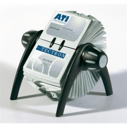 Névjegykártyatartó Durable Visifix Flip forgatható asztali 400 db-os regiszterrel fekete/ezüst
