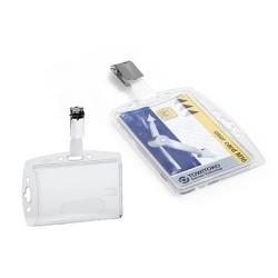 Biztonsági kártyatartó Durable 85x54 mm akril forgatható fémcsipesszel