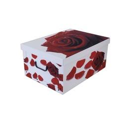 Tárolódoboz karton mini 33x25x16 cm rózsa vörös