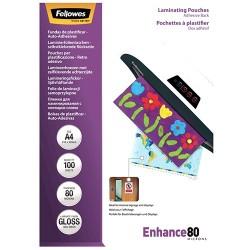 Lamináló fólia Fellowes A/4 80 mic. öntapadó háttal fényes 100 lap/csomag
