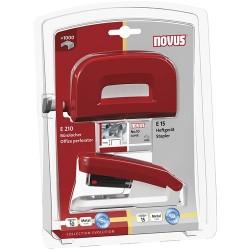 Tűzőgép Novus E15 No.10 + lyukasztó Novus E210 piros