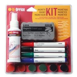 Kezdőkészlet mágnestáblához Bi-Office (táblatörlő, tisztító spray, 4 db marker, 6 db mágnes)