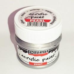 Kreatív akrilfesték Pentart gyöngyház 50 ml ezüst