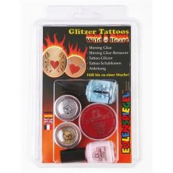 Kreatív tetováló csillámkészlet ES sablonnal és rögzítőlakkal vad szívek