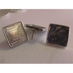 Kreatív fülbevaló alap Pébéo fém szögletes 20x20 mm ródium bevonattal