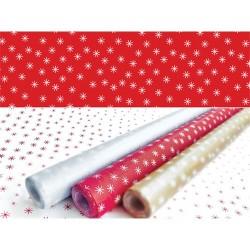 Asztalterítő 118x100 cm papír damaszt dombornyomású csillagos piros alap-fehér csillag