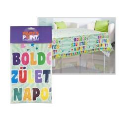 Asztaltertítő műanyag 130 x 180 cm Zászlós Boldog Születésnapot
