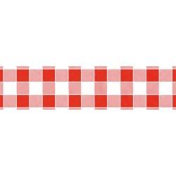 Asztalterítő 118x1000 cm papír damaszt dombornyomású kockás piros