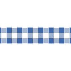 Asztalterítő 118x1000 cm papír damaszt dombornyomású kockás kék