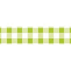 Asztalterítő 118x1000 cm papír damaszt dombornyomású kockás világos zöld