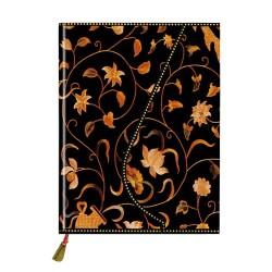 Napló Prosper Art 173x127 mm 72 lap mágneses záródással sima fekete arany virággal
