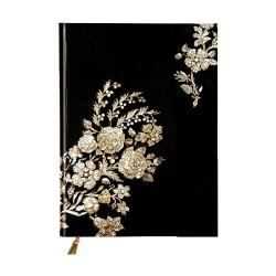 Napló Prosper Art 173x127 mm 72 lap mágneses záródással sima fekete fehér virággal