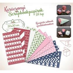 Karácsonyi kreatív scrapbookpapírok 30x30 cm 24 lap piros-zöld