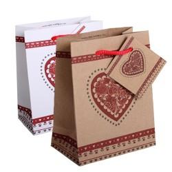 Dísztasak kraft 11x14 cm piros szív