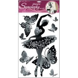 Dekormatrica fali 69x32 cm fekete-fehér balett