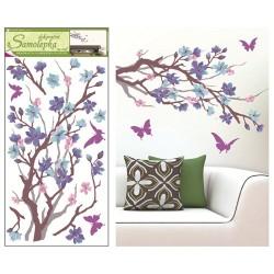 Dekormatrica fali 69x32 cm faág lila virággal, madarak
