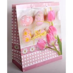Dísztasak húsvéti fényes 26x32 cm tulipán+tojás