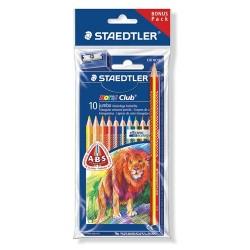 Színes ceruza Staedtler Noris Club Jumbo háromszögletű 10 db-os klt. + ajándék ceruza és hegyező