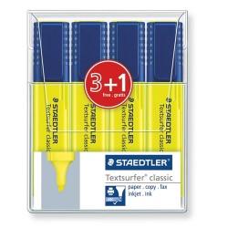 Szövegkiemelő Staedtler Textsurfer Classic sárga 3+1 db / bliszter