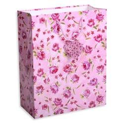 Dísztasak fényes glitteres 18x23 cm rózsaszín/piros rózsák