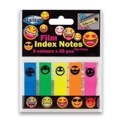 Oldaljelölő műanyag Centrum Emojidex 45x12 mm 5x25 lapos neon színek piktogrammal