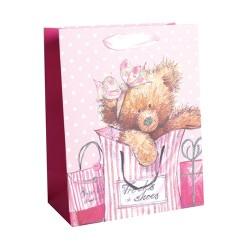 Dísztasak glitteres 26x32 cm maci tasakkal rózsaszín
