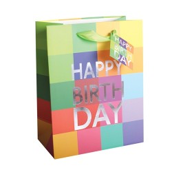 Dísztasak matt 11x14 cm Happy Birth Day színes kocka
