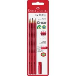 Grafitiron szett Faber-Castell Grip 2001 piros (3db B Grip ceruza+ kupakradír)