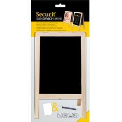 Krétatábla Securit Mini asztali - poszter (vagy fénykép) tartóval -fa kerettel A5