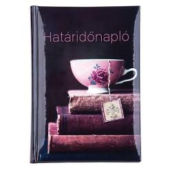 Határidőnapló A/5 képes teáscsésze könyvvel