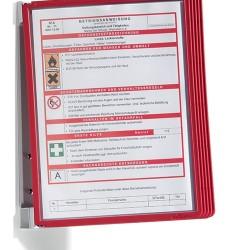 Bemutatótábla-tartó Durable Vario fali 5 db-os táblával piros