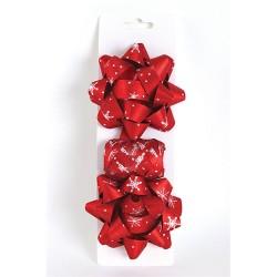 Masni szett glitteres piros hópehely (2db masni+kötöző 10m-es)
