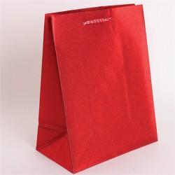 Dísztasak műanyag glitteres 18x23 cm piros