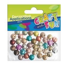 Kreatív CF műanyag gyöngy kerek metálos színes 50 db/csomag